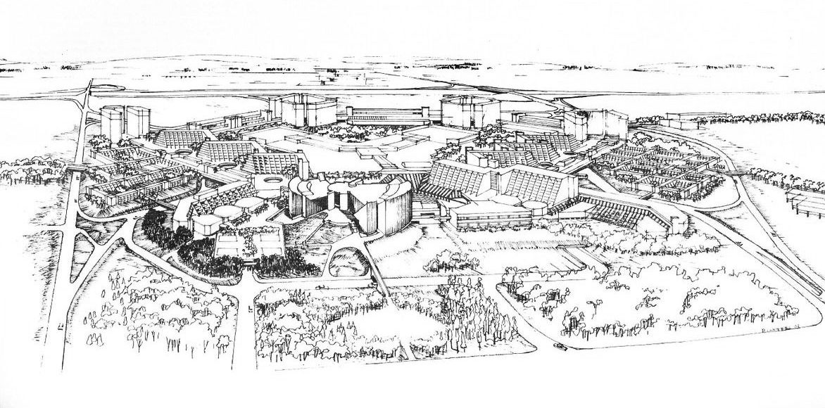Illustration from Raymond Moriyama's 1973 Master Plan for Scarborough Town Centre