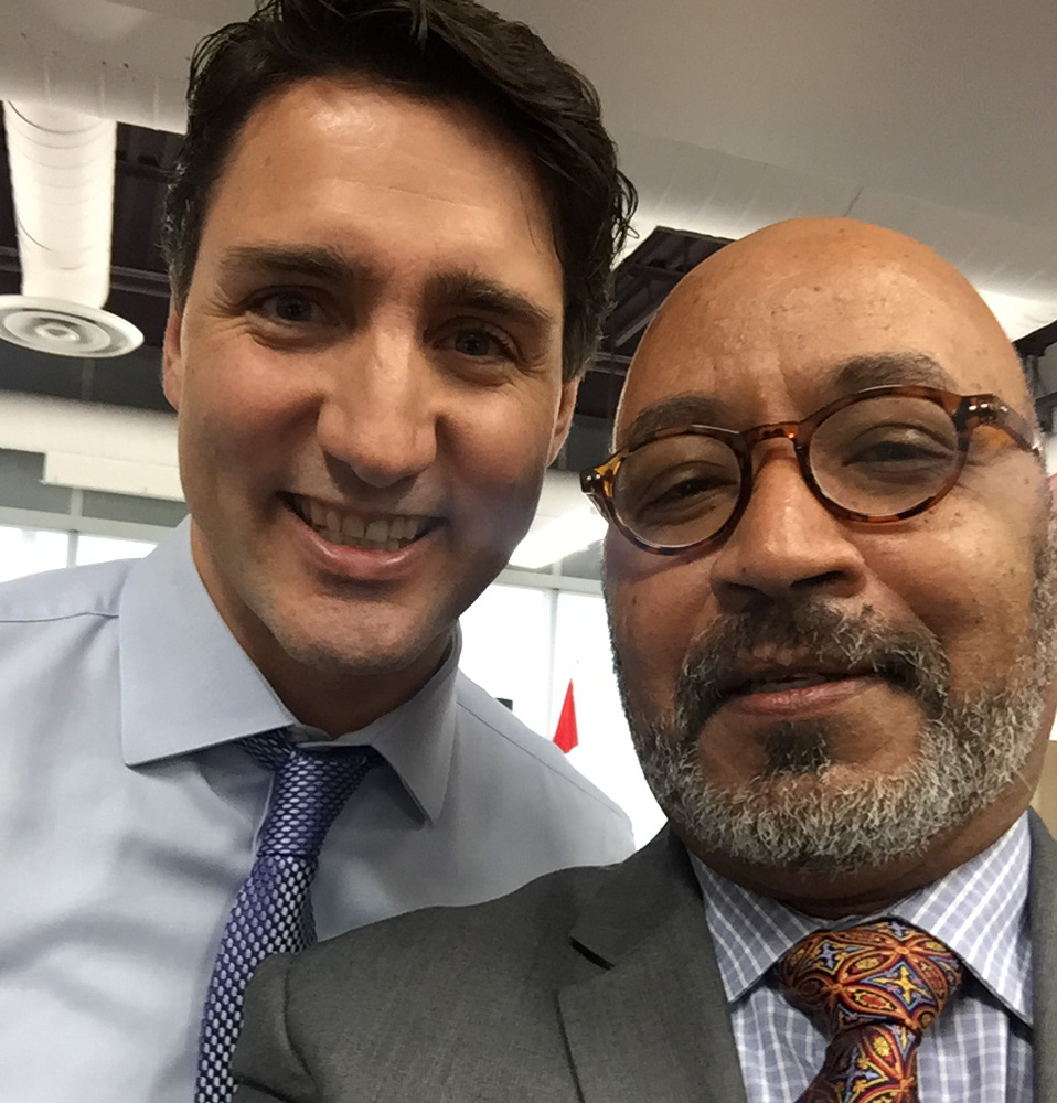 Liben Gebremikael and Justin Trudeau selfie